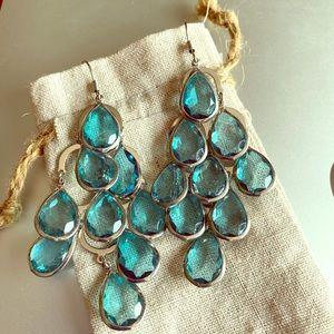 Teal raindrop chandelier earrings